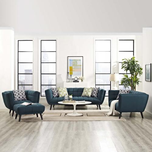 Bestow 3 Piece Upholstered Fabric Sofa Loveseat and Armchair Set in Blue