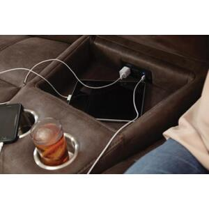 Wedge Console Storage Box w/USB Port