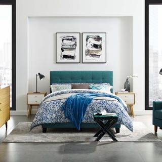 Product Image - Amira Queen Upholstered Fabric Bed in Teal