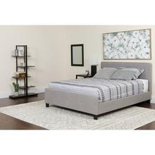 See Details - Tribeca Queen Size Tufted Upholstered Platform Bed in Light Gray Fabric with Pocket Spring Mattress