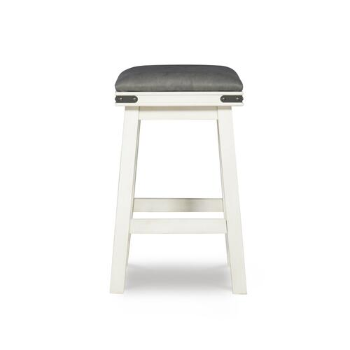 Upholstered Seat and Backless Counter Stool, White