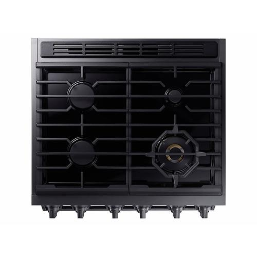 """Samsung - 5.8 cu. ft. 30"""" Chef Collection Professional Gas Range with Dual Convection in Black Stainless Steel"""