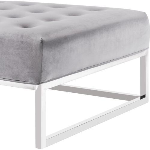 Tov Furniture - Nova Grey Velvet Ottoman