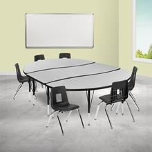 """86"""" Oval Wave Collaborative Laminate Activity Table Set with 14"""" Student Stack Chairs, Grey\/Black"""