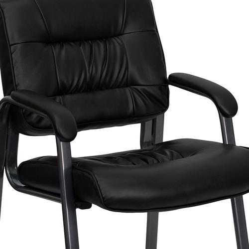 Gallery - Black LeatherSoft Executive Side Reception Chair with Titanium Gray Powder Coated Frame