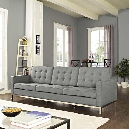 Loft Upholstered Fabric Sofa in Light Gray
