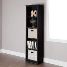 5-Shelf Narrow Bookcase - Black Oak