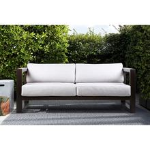 Paradise Outdoor Dark Eucalyptus Wood Sofa with Grey Cushions