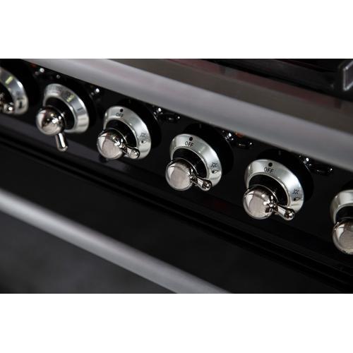Ilve - Nostalgie 30 Inch Dual Fuel Natural Gas Freestanding Range in Matte Graphite with Chrome Trim