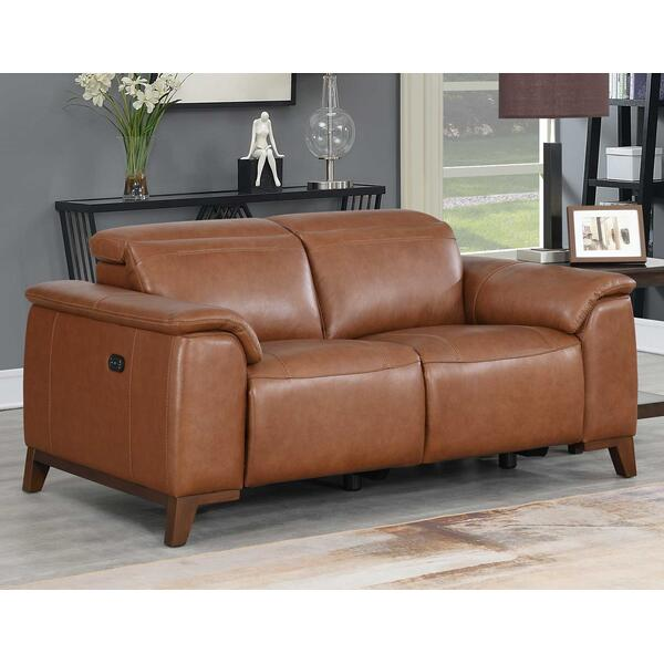 See Details - Bergamo Dual-Power Leather Reclining Loveseat