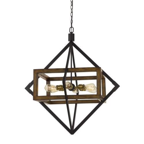 60W X 6 Venosa Wood/Metal Chandelier