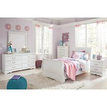 Twin Sleigh Bed With Mirrored Dresser and Chest