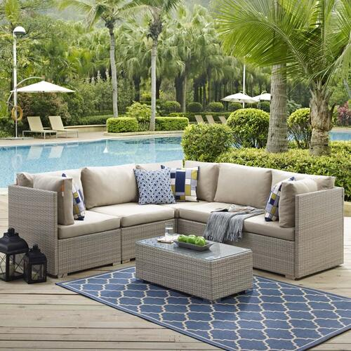 Repose 6 Piece Outdoor Patio Sunbrella® Sectional Set in Light Gray Beige
