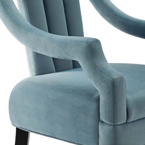 Harken Performance Velvet Accent Chair in Light Blue
