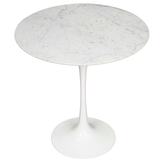"Allie 20"" Round Table, White Marble"