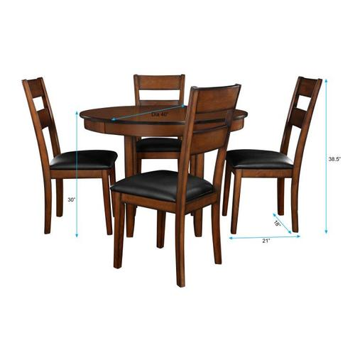 Pendwood Dining Table and Four Chairs Set, Brown Cherry