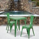 "Commercial Grade 23.75"" Square Green Metal Indoor-Outdoor Table Set with 2 Stack Chairs Product Image"