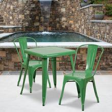 "Commercial Grade 23.75"" Square Green Metal Indoor-Outdoor Table Set with 2 Stack Chairs"