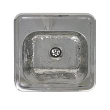 """See Details - 15"""" Decorative square drop-in entertainment/prep sink with a hammered texture bowl and mirrored finish ledge"""