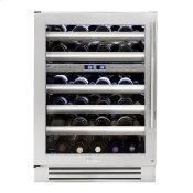 24 Inch Dual Zone Stainless Glass Door Left Hinge Undercounter Wine Cabinet