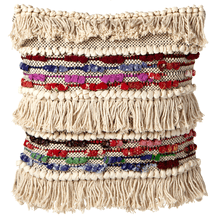 Fringe Boho Colorful Chindi Pillow (Each One Will Vary)