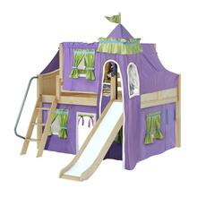 Low Loft Bed with Angle Ladder, Slide, Tower, Top Tent & Curtain : Full : Natural : Curved