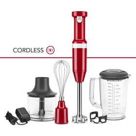 Cordless Variable Speed Hand Blender with Chopper and Whisk Attachment - Empire Red