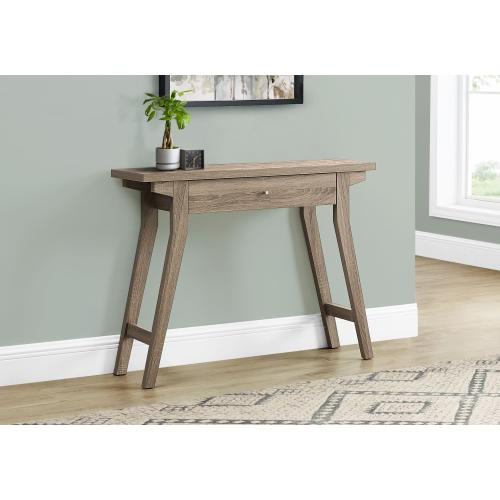 """ACCENT TABLE - 42""""L / DARK TAUPE WITH A STORAGE DRAWER"""