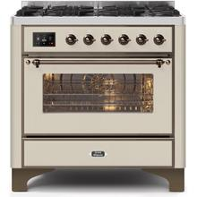 Majestic II 36 Inch Dual Fuel Natural Gas Freestanding Range in Antique White with Bronze Trim