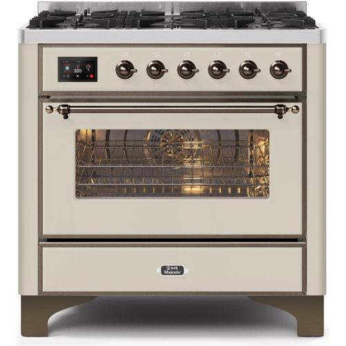 Ilve - Majestic II 36 Inch Dual Fuel Natural Gas Freestanding Range in Antique White with Bronze Trim