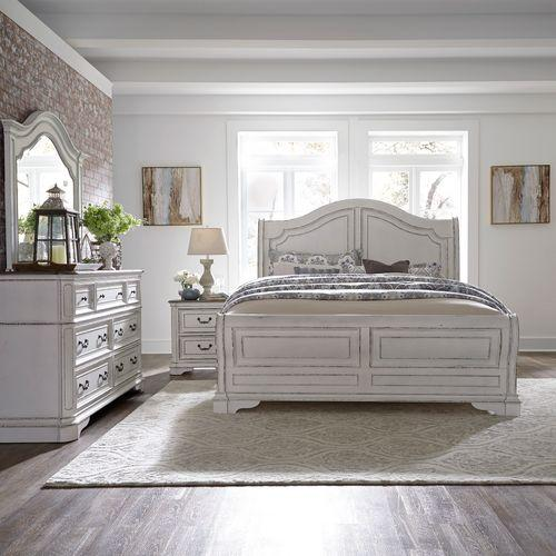 King Sleigh Bed, Dresser & Mirror, Night Stand