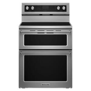 KITCHENAID30-Inch 5 Burner Electric Double Oven Convection Range - Stainless Steel