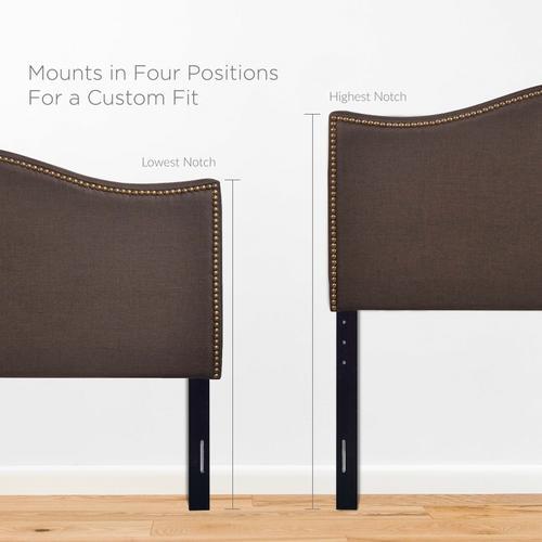 Modway - Curl Queen Nailhead Upholstered Headboard in Dark Brown