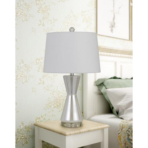 Anzio Glass Table Lamp With Hardback Fabric Shade (Sold And Priced As Pairs)