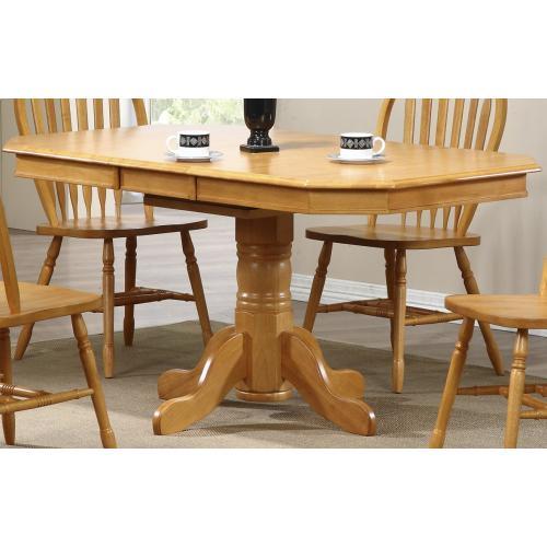 Pedestal Extendable Dining Table - Light Oak Finish