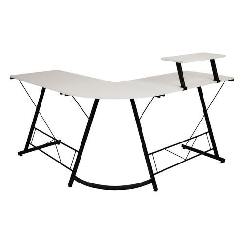 """Flash Furniture - L-Shaped Desk 71.5"""" Computer Corner Desk, Home Office Corner Desk, Gaming Desk, Space Saving, Easy to Assemble, White\/Black"""