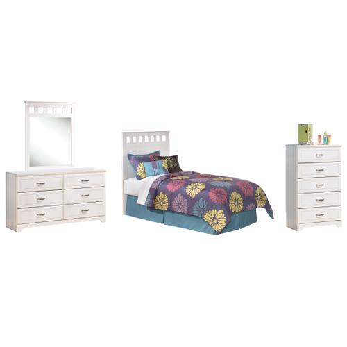 Twin Panel Headboard With Mirrored Dresser and Chest