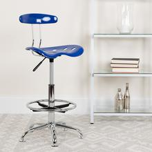 View Product - Vibrant Nautical Blue and Chrome Drafting Stool with Tractor Seat