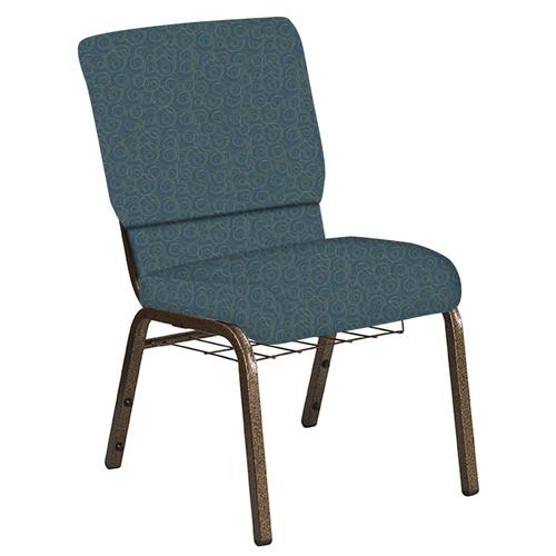 Flash Furniture - 18.5''W Church Chair in Martini Sapphire Fabric with Book Rack - Gold Vein Frame