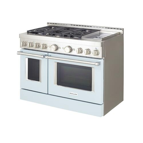 KitchenAid® 48'' Smart Commercial-Style Gas Range with Griddle - Misty Blue
