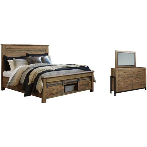 King Panel Bed With Storage With Mirrored Dresser