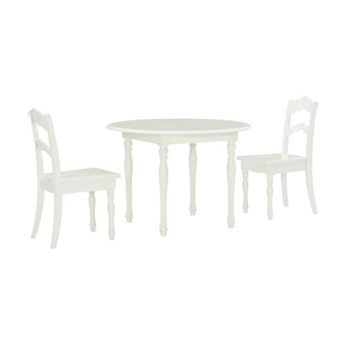 Table Set With Two Ladderback Chairs, White