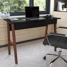 See Details - Home Office Writing Computer Desk with Drawer - Table Desk for Writing and Work, Black\/Walnut