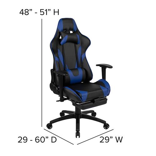 Gallery - Black Gaming Desk with Cup Holder\/Headphone Hook and Monitor\/Smartphone Stand & Blue Reclining Gaming Chair with Footrest