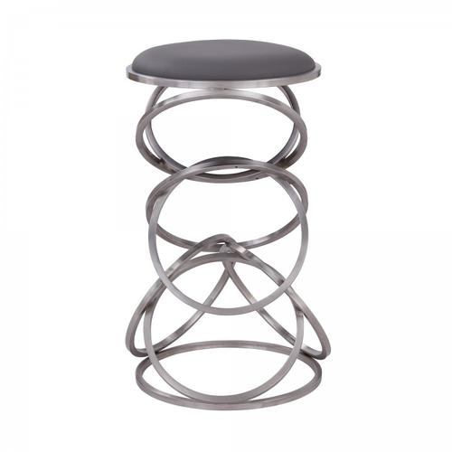 "Medley Contemporary 30"" Bar Height Barstool in Brushed Stainless Steel Finish and Grey Faux Leather"