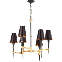 Alroy 6 Light 30-inch Dia Chandelier - Black / Gold