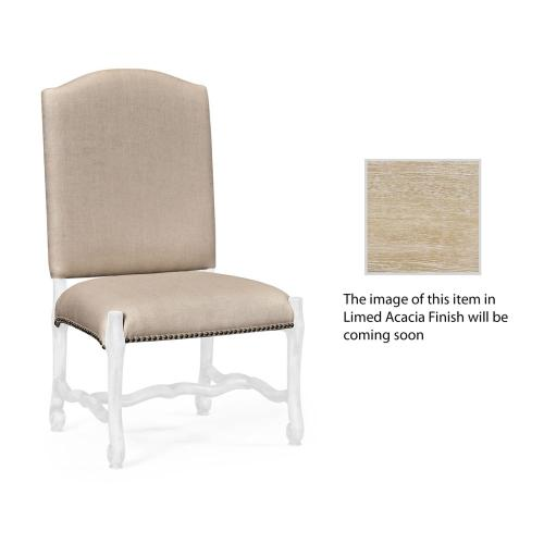 Upholstered side chair in Limed Acacia