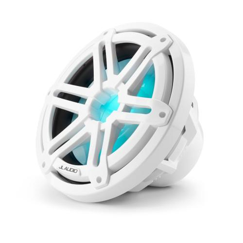 JL Audio - 10-inch (250 mm) Marine Subwoofer Driver, Gloss White Sport Grille with RGB LED Lighting, 4