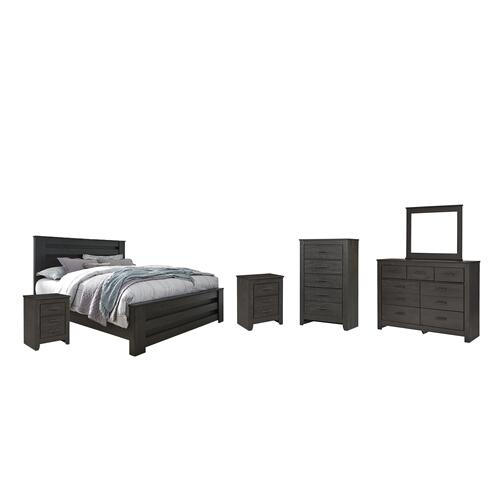 Ashley - King Panel Bed With Mirrored Dresser, Chest and 2 Nightstands