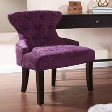 Curves Hour Glass Accent Chair In Port Velvet Fabric With Espresso Legs